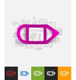 pencil paper sticker with hand drawn elements vector image