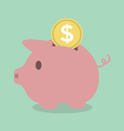 Piggy bank with a coin vector image vector image