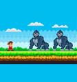 pixel art game background with ninja warrior vector image