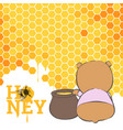 postcard with a bear and honey vector image
