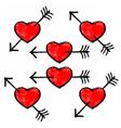 Red Textured Heart Pierced Black Arrow vector image vector image