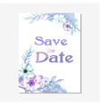save the date purple floral white background vector image vector image