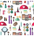 Seamless background with cosmetics flat icons vector image vector image