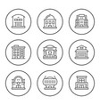 set line icons of buildings vector image vector image