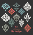 set of ornamental floral elements for design vector image