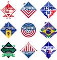 set of vintage surfing logo design for tees vector image vector image
