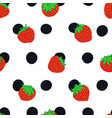 strawberry and polka dot seamless pattern vector image
