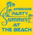 summer beach party template banner or flyer vector image vector image