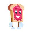 toast cartoon character cute cartoon food vector image