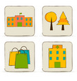 urban buildings and places icons set vector image