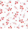 Watercolor red branches with hearts seamless patte vector image