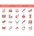 woman accessories color icons set vector image