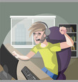 young man gamer playing computer games vector image vector image
