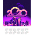 2020 calendar holiday city vector image vector image
