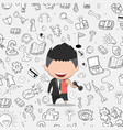 a happy face businessman on icon business doodles vector image