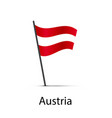 austria flag on pole infographic element on white vector image