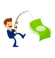 businessman catching big money with a fishing pole vector image
