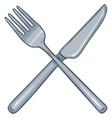 cartoon crossed cutlery steel fork and knife vector image vector image