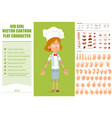 cartoon flat chef cook girl character set