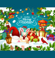 christmas gift with santa hat greeting card design vector image vector image