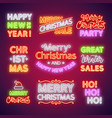 christmas neon lettering set vector image