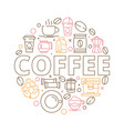 coffee icons background circle shape from coffee vector image vector image