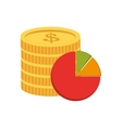 coin and pie chart icon vector image