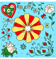collection exotic flowers vector image