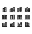 company icons set on white background black vector image vector image