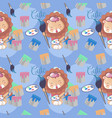 cute happy lion with paint and seamless pattern vector image vector image