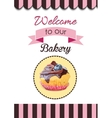 Cute party cupcake on delicate striped vector image