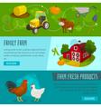 Farm horizontal banners cartoon farming concepts vector image vector image