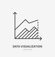financial analysis flat logo area chart graph vector image