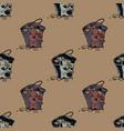 grumpy waste bucket seamless pattern vector image