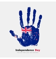 Handprint with the New Zealand flag in grunge vector image