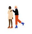 happy interracial lesbian couple romantic vector image vector image