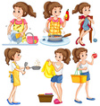Housewife doing different chores vector image vector image