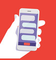human hand with smartphone modern flat design vector image