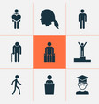 human icons set with sitting winner student and vector image