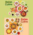 italian cuisine traditional dishes and salads vector image vector image