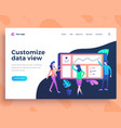 landing page template data view concept with vector image