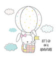 little bunny in a hot air balloon vector image vector image