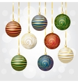 New Year gray background with Christmas balls vector image vector image