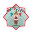 nice clown boy with balloon and party flags inside vector image