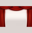 open red velvet movie curtains with white screen vector image