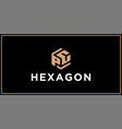 pc hexagon logo design inspiration vector image vector image