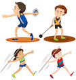 People doing track and field sports vector image vector image