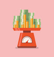 pile money on domestic weigh scales vector image vector image