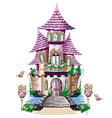 Pink fairy tale castle vector image vector image