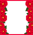 red camellia flower frame border